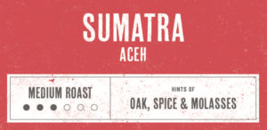 Coffee Label. Sumatra Aceh. Medium Roast. Hints of Oak, Spice and Molasses.