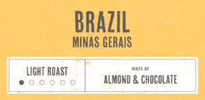 Coffee Label. Brazil Minas Gerais. Light Roast. Hints of Almond and Chocolate.