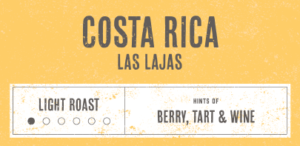 Coffee Label. Costa Rica Las Lajas. Light Roast. Hints of Berry, Tart and Wine.