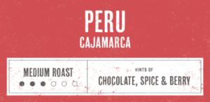 Coffee Label. Peru Cajamarca. Medium Roast. Hints of Chocolate, Spice and Berry.