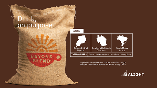Beyond Blend coffee beans burlap bag in support of Alight humanitarian efforts